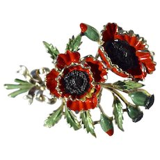 Vintage Late 1950's Exquisite Enamel Poppy Brooch Pin