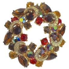A Large Vintage Sphinx  Autumn Rhinestone Crystal Wreath Brooch Pin