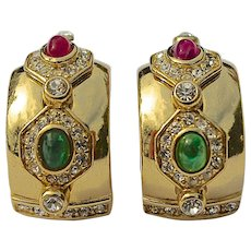 A Pair of Vintage Christian Dior Gripoix Cabochon Clip On Earrings