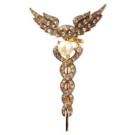 A Vintage Diamond and Pearl Caduceus Brooch Pin