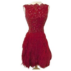 A Vintage 1950s Couture Red Silk Sequin and Ostrich Feather Cocktail Dress
