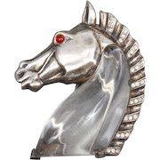 Vintage 1949 Trifari 'Alfred Philippe' Jelly Belly, Sterling Silver Rhinestone Lucite Horse Head Brooch Pin Clip
