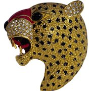 A Vintage Roaring Enamel And Gold Tone Panther Head Brooch Pin Signed Ciner