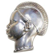 An Vintage Art Nouveau Silver Plate Enamel Nubian Prince Brooch Pin Signed E Moinier
