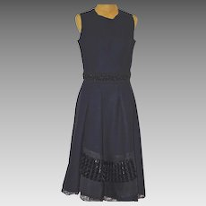 A Vintage MARNI Black Wool Cocktail Dress With Beaded Waist and Hem