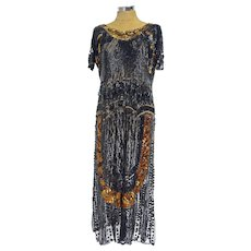 A Vintage 1920's Heavily Beaded and Sequinned Copper and Black Flapper Dress