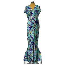 Ossie Clark Blue Patterned Silk Evening Dress with Celia Birtwell Fabric. Early 1970's.