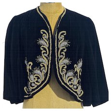 A Rare Authentic Vintage 1960s Chanel Haute Couture Heavily Beaded Evening Shrug Cropped Jacket