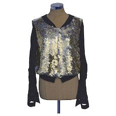 A Gold Sequin Casual Chic Bomber Jacket Signed Dries Van Noten