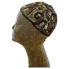Original 1920s Juliet Skull Cap, Beaded Headpiece, Ladies 1920s Sequin Cap