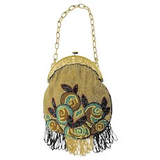 A Vintage French Ladies Hand Beaded Handbag, Purse, Fringed, Bakelite Frame and Chain