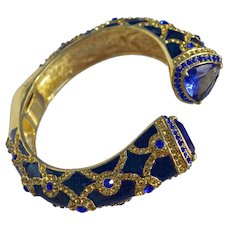 A Vintage Blue Enamel and Rhinestone Clamper Bangle Bracelet Cuff By Joan Rivers From Her Personal Estate