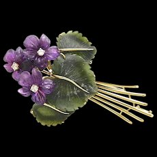 An Art & Crafts Period Suffragette Purple Flower Bouquet Brooch Pin of Carved Amethyst, Diamond, Jade, Nephrite