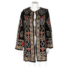 An Antique 1900s Embroidered Black Velvet Jacket