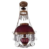 BRADLEY & HUBBARD Pull Down Hanging Ruby Red Cranberry Hobnail Chandalier Parlor GWTW Oil Lamp