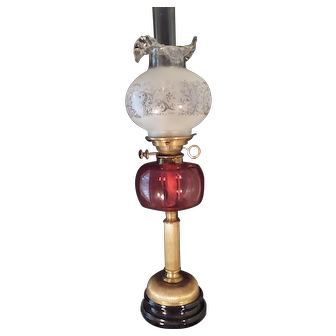 Rare HINKS & SON Duplex Burner Ruby Red Cranberry Font Etched Shade Banquet Oil Lamp