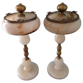 Pair (2) Alabaster Marble Brass Standing Ashtray From So. Georgia Hotel