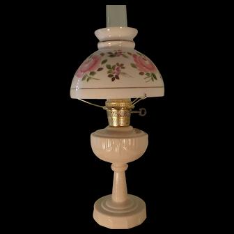 "1940s Aladdin ""ALACITE"" Tall Lincoln Drape Kerosene Oil Lamp with Pink Rose Shade Electrified"