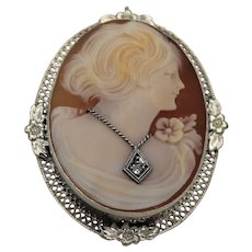 Classic Cameo Pendant and Brooch, 14 Kt WG