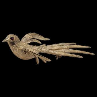 Graceful Flying Swallow with Ruby Eye  Brooch, 14Kt YG