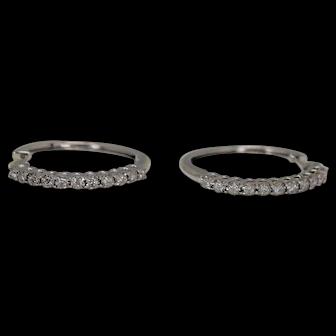 1/2 ctw Diamond Hoop Earrings, 10Kt WG