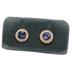 Stunning Tanzanite and Diamond Halo Earrings, 14Kt YG