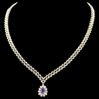 Tanzanite and Diamond Necklace, 14Kt YG