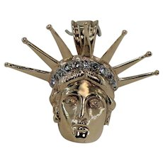 Vintage Statue of Liberty Head with Diamonds, 14Kt YG