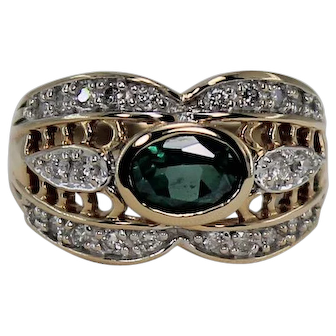 Wide Green Topaz and Diamond Ring,14 kt YG