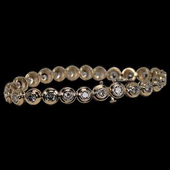 Bezel Set Diamond Bracelet, 4 ctw