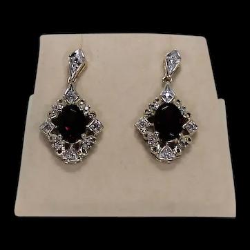 Lovely Garnet and Diamond Earrings, Two Toned, 10K