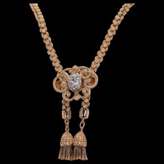Victorian 1 ctw Diamond Lariat Style Necklace, 18 K YG