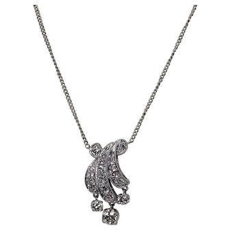 Rare Vintage Diamond Dangle Necklace, approx 1.4ctw, Platinum and 14K