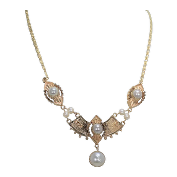 Gorgeous Victorian Pearl Necklace, 14Kt YG