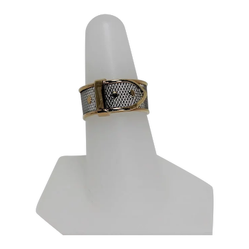 Mesh Buckle Ring, Plat and 18K