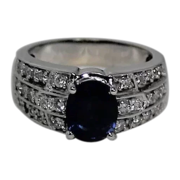 Le Vian Sapphire and Diamond Ring , Deco Collection, 14K WG
