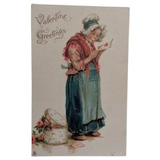 Frances Brundage Valentine Dutchwomen Postcard