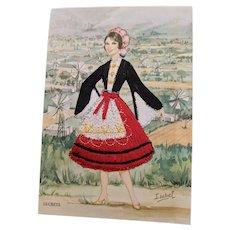 Silk Embroidered Vintage Greek Postcard by Isabel