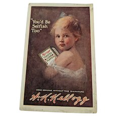 Postcard, K. K. Kellogg advertisement. Year is 1911