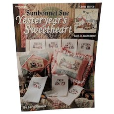 """Cross Stitch Book-Leaflet By Carol Emmer """"Sunbonnet Sue, Yesterday's Sweetheart"""""""
