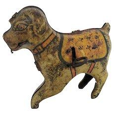 Vintage Children's Toy, Wind-up Toy, Tin Litho Vibration Dog
