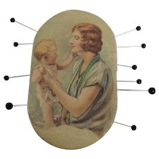 Vintage Needle Case Showing a Mother and Child