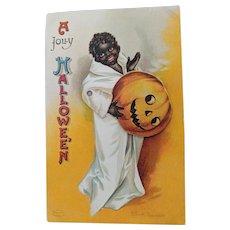 Halloween Postcard : Artist Signed Clapsaddle : Mechanical Black Child post card