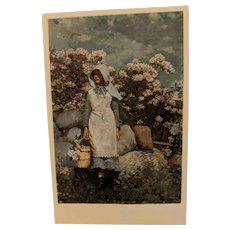 Postcard [ GIRL & LAUREL ] by Winslow Homer