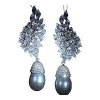 Exquisite Platinum & Diamond Dangling Cultured South Sea Pearl Drop Earrings