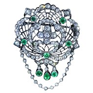 Art Nouveau Style Emerald & Diamond Pendant/Brooch in Black Rhodium Finish