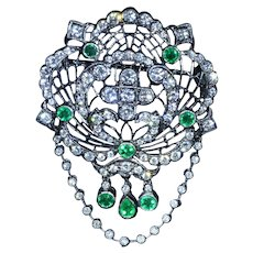 Art Nouveau Style Emerald & Diamond Pendant/Brooch in Black Rhodium Finish