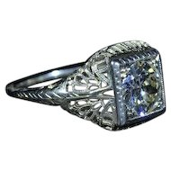 Ladies 18 Karat White Gold Filigree engagement ring 1.25 Carat European cut diamond