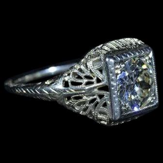 Ladies 18 Karat White Gold Filigree engagement ring 1.25 Carat European cut diamond
