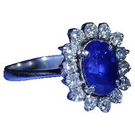 2.37 Carat Oval Brilliant Cut Sapphire Ring